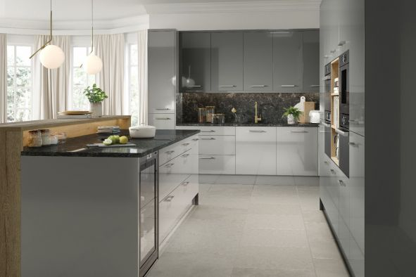Venice High Gloss Light Grey Kitchen Doors