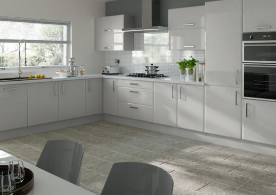 Lincoln High Gloss Light Grey Kitchen Doors