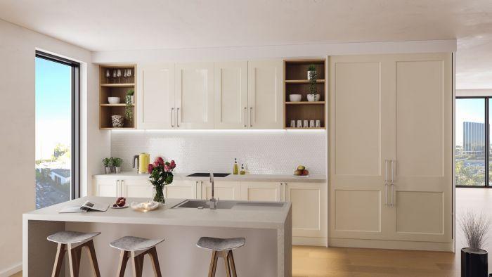 Bella High Gloss Cream Cambridge Kitchen Doors