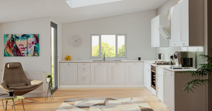 Cambridge Satin White Kitchen Door