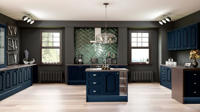 Bella Indigo Blue Canterbury Kitchen Doors