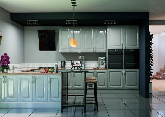 York High Gloss Light Grey Kitchen