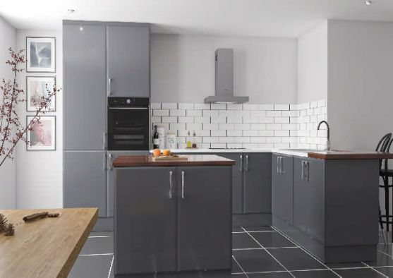 Lincoln High Gloss Dust Grey Kitchen Doors