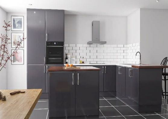 Pisa	High Gloss Dust Grey Kitchen Doors
