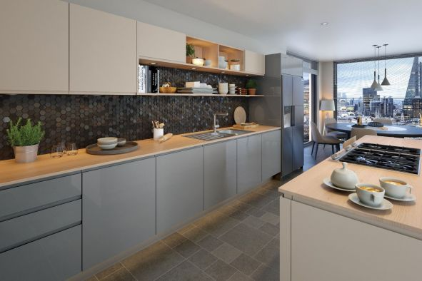 Jayline Supergloss Light Grey Kitchen