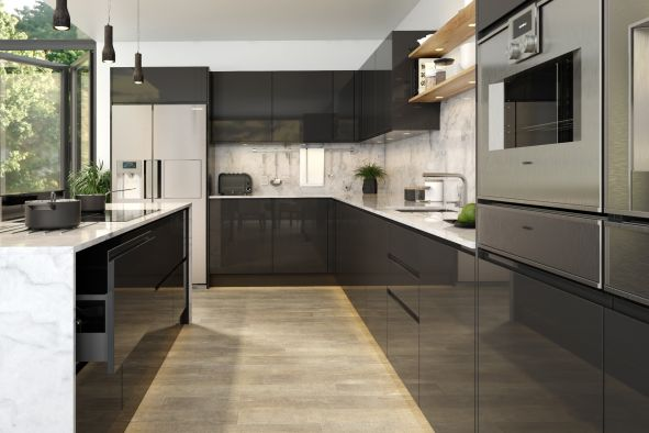 Jayline Supergloss Graphite Kitchen