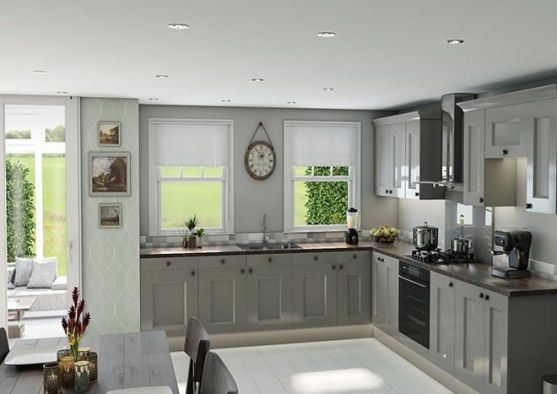 Cambridge High Gloss Light Grey Kitchen Doors