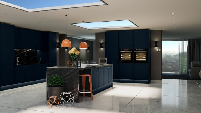 Bella Indigo Blue Lincoln Kitchen Doors