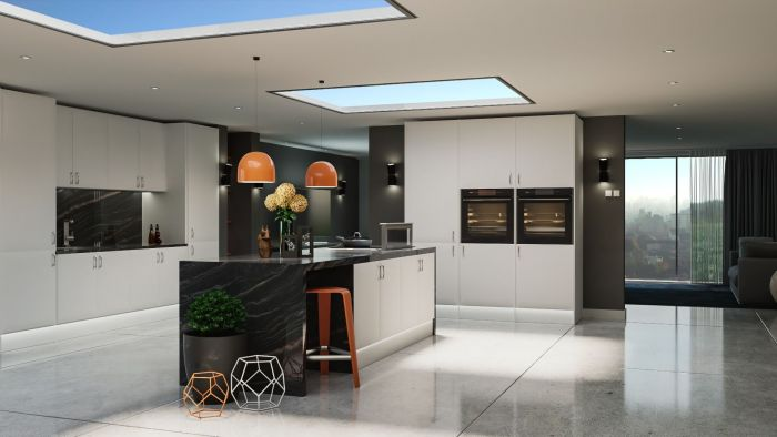 Lincoln Satin White Kitchen Doors
