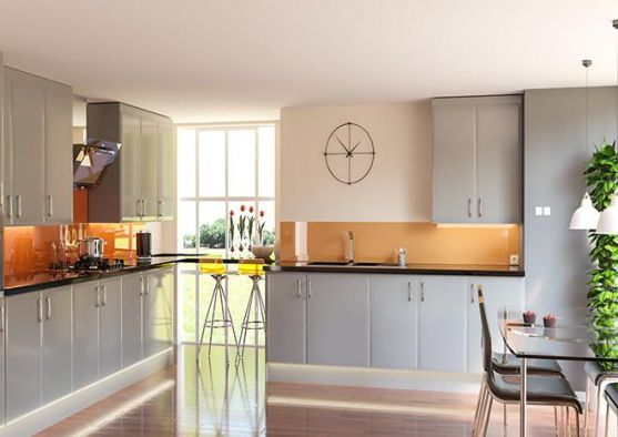 Pisa	High Gloss Light Grey Kitchen Doors