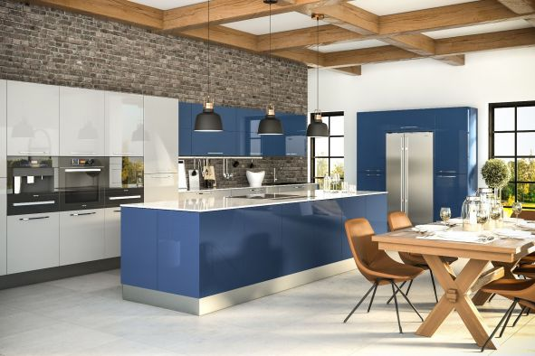 Zurfiz Ultragloss Baltic Blue Kitchen Doors