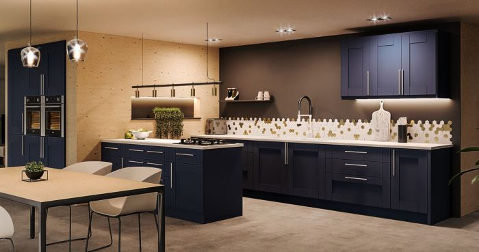 Bella Indigo Blue Warwick Kitchen Doors