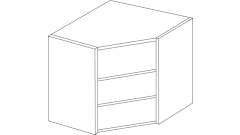 600mm - Diagonal Open Display Corner Wall Unit